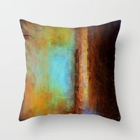 swimming Throw Pillows featuring Swimming by Liz Moran