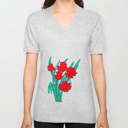 Red flowers gladiolus art nouveau style Unisex V-Neck