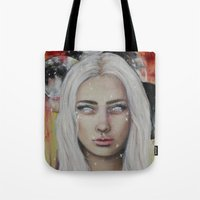 coven Tote Bags featuring Blood on the Moon by Bella Harris