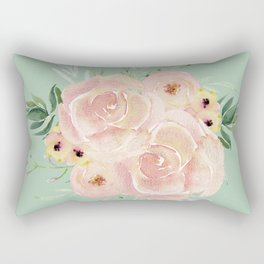 Wild Roses on Pastel Cactus Green Rectangular Pillow