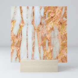 White Alabaster Marble With Flowing Gold-Glitter Veins Mini Art Print