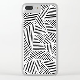 abstract black and white random triangles Clear iPhone Case