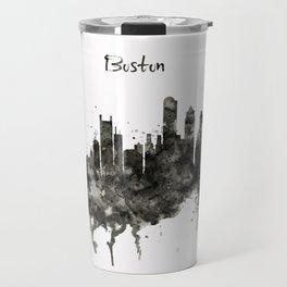 Boston Skyline Black and White Travel Mug