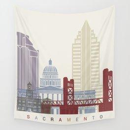 Sacramento skyline poster Wall Tapestry