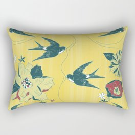 swallows and flowers Rectangular Pillow
