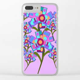 Square Flowers Clear iPhone Case