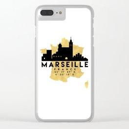 MARSEILLE FRANCE SILHOUETTE SKYLINE MAP ART Clear iPhone Case