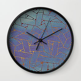 Blue gradient abstract lines Wall Clock