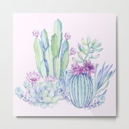 Mixed Cacti Pink #society6 #buyart Metal Print