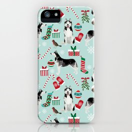 Siberian Husky christmas festive holiday gifts for husky owners by pet friendly iPhone Case