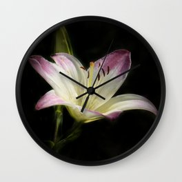 purple white orchid on black Wall Clock