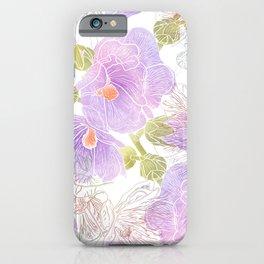 Romantic summer hollyhock flowers iPhone Case