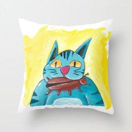 Cat with Big Bug Throw Pillow