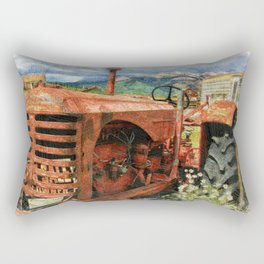 Old Farm Tractor in Field-Farm Theme Decor Rectangular Pillow