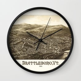 Aerial View of Brattleboro, Vermont (1886) Wall Clock