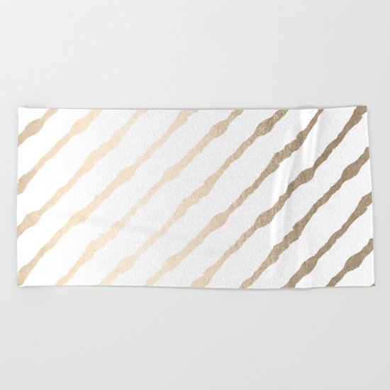 Simply Diagonal Stripes in White Gold Sands on White Beach Towel