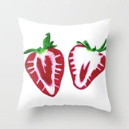Strawberry Slices Throw Pillow