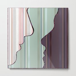 StrIped Face Silhouette  (soft green, pink, ivory, purple) Metal Print