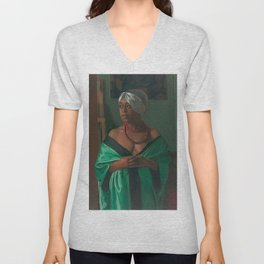 African American Masterpiece 'Portrait of the African Woman Aicha Goblet' by Felix Vallotton Unisex V-Neck