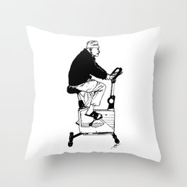 Exercise Bike Grandpa Throw Pillow