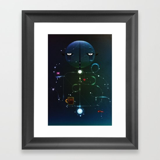 Self Portrait: Raid Boss, Coffee and Constellations Framed Art Print