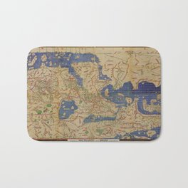 Tabula Rogeriana world map (12th century) Bath Mat