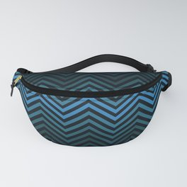 Blue And Black Zig Zag Abstract Design Fanny Pack