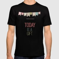 today is a gift  Mens Fitted Tee Black MEDIUM