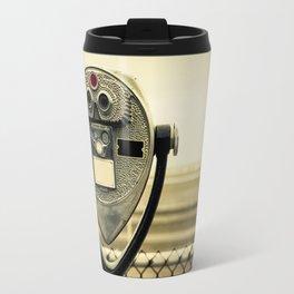 tourist retro coin operated binoculars on the beach in New York City Travel Mug