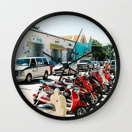 Line of bikes Wall Clock