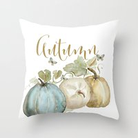 craftberrybush Throw Pillows featuring Autumn pumpkins  by craftberrybush