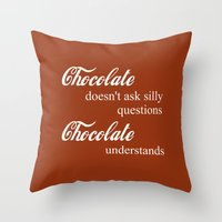 chocolate Throw Pillows featuring Chocolate by DuniStudioDesign