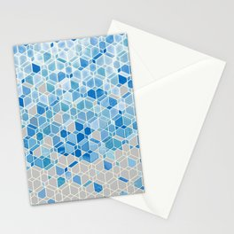 Cubes & Diamonds in Blue & Grey  Stationery Cards