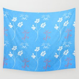 Plein Air Blue Floral Pattern Wall Tapestry