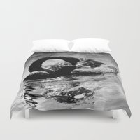 black swan Duvet Covers featuring Black Swan by CrypticFragments Design