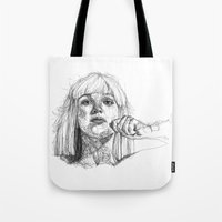sia Tote Bags featuring Sia Scribbles (Pen Art) by Aeriz85
