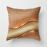 anaconda Throw Pillows featuring Blingin Anaconda by Robin Curtiss