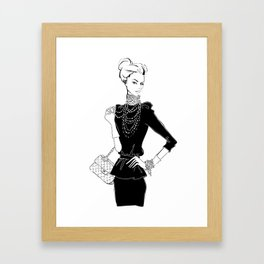 Fashion Girl in Black with Pearls Framed Art Print