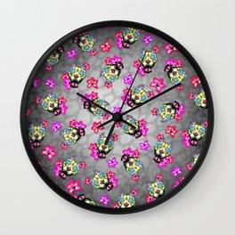 Slobbering Pit Bull - Day of the Dead Sugar Skull Pitbull Wall Clock
