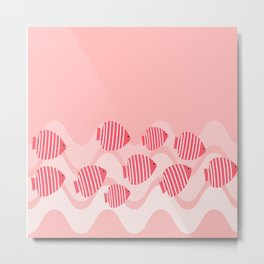Kitschy Pink Angel Fish Metal Print