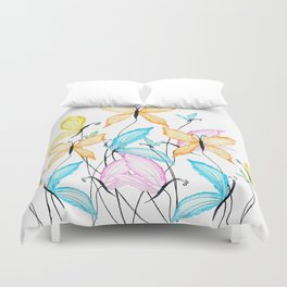 colorful flying butterflies Duvet Cover