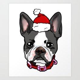 Boston Terrier Dog Christmas Hat Present Art Print