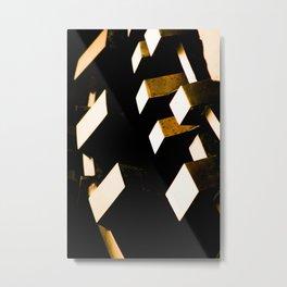 Rose Gold Bronze Abstract Geometric Mechanical Gears Metal Print