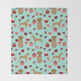 Vizsla valentines day dog breed gifts for dog lover unique dog pet portraits animal art Throw Blanket