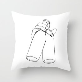 """ Kitchen Collection "" - Hand Holding Two Beer Bottles Throw Pillow"