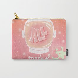 We are all made of stars, typography modern poster design with astronaut helmet and night sky, pink Carry-All Pouch