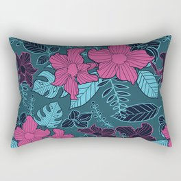 Modern Bold Jungle Floral Pattern Memphis Style Rectangular Pillow