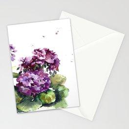Purple violet pelargonium geranium flowers watercolor Stationery Cards