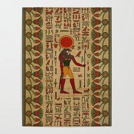 Egyptian Re-Horakhty  - Ra-Horakht  Ornament on papyrus Poster