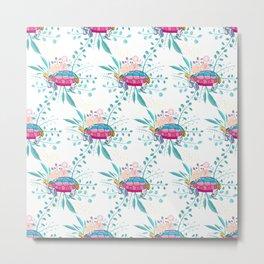 Happy Spring Tortoise Pattern Metal Print